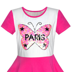 Girls Dress Pink Embroidered Butterfly Reversible Sequin Size 6-12 Years