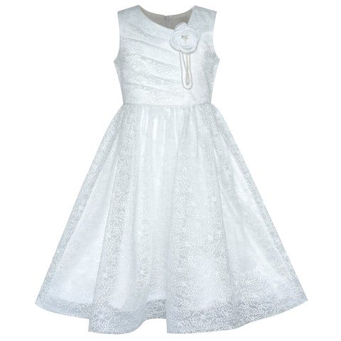 Flower Girl Dress Off White Lace First Communion Wedding Bridesmaid Size 6-12 Years