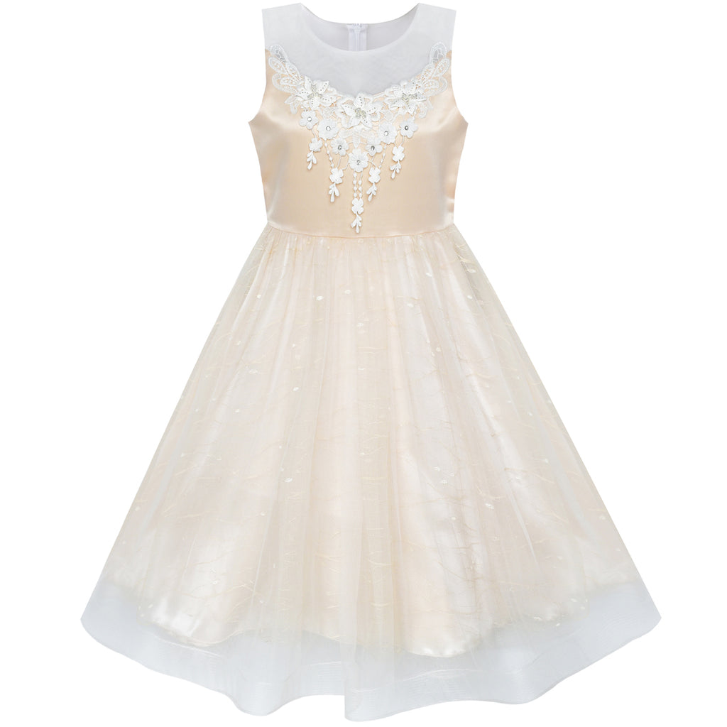 Flower Girl Dress Tea Length Champagne Wedding Bridesmaid Size 6-12 Years