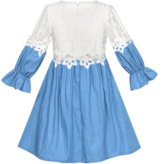 Girls Dress Long Sleeve White Lace Blue A-line School Uniform Size 6-12 Years