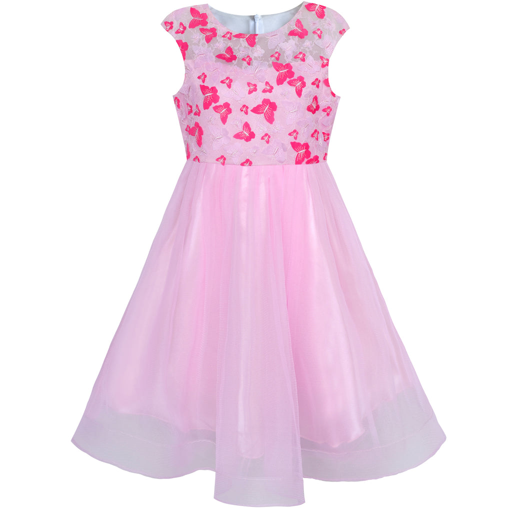 Flower Girl Dress Butterfly Pink Bridal Veil Wedding Bridesmaid Size 6-12 Years