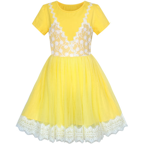 Girls Dress 2-in-1 Lace Yellow Short Sleeve Party Dress Size 5-10 Years