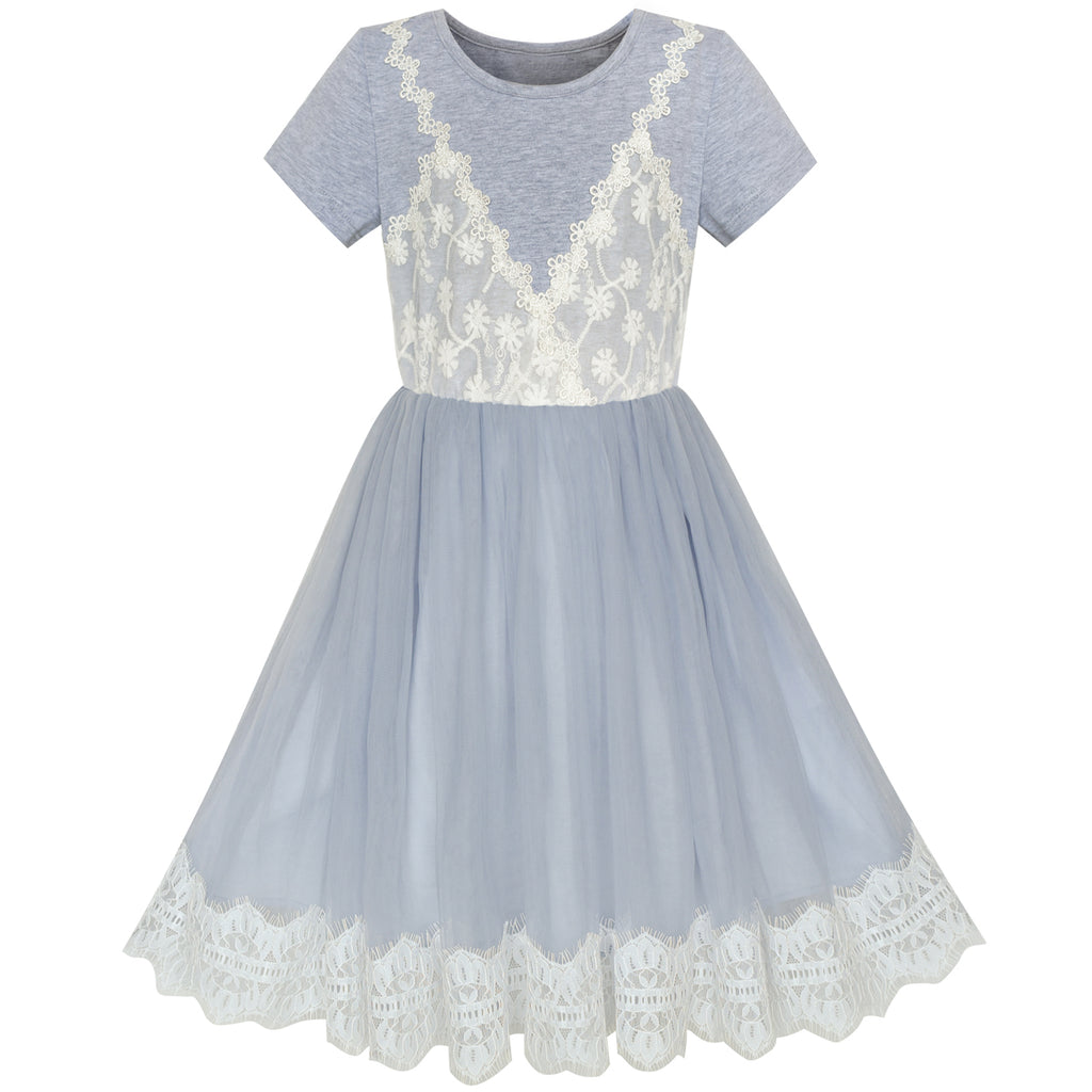 Girls Dress 2-in-1 Lace Gray Short Sleeve Party Dress Size 5-10 Years