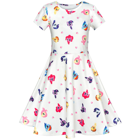 Girls Dress Cartoon Printed Colorful Short Sleeve Dress Size 4-10 Years