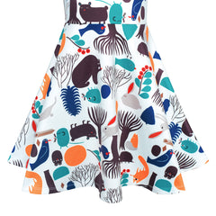 Girls Dress Tree Bird Bear Cartoon Short Sleeve Dress Size 4-10 Years