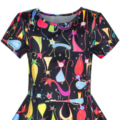 Girls Dress Cartoon Cat Short Sleeve Dress Size 4-10 Years