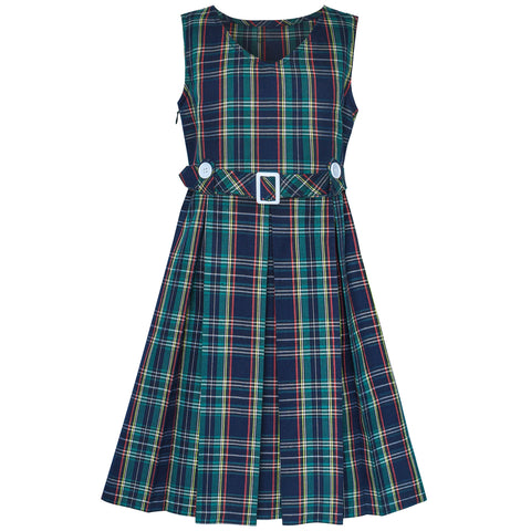 Girls Dress Green Tartan Button Back School Pleated Hem Size 6-14 Years