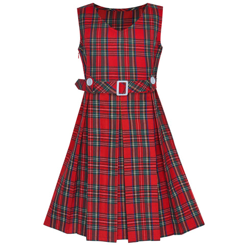Girls Dress Red Tartan Button Back School Pleated Hem Size 6-14 Years