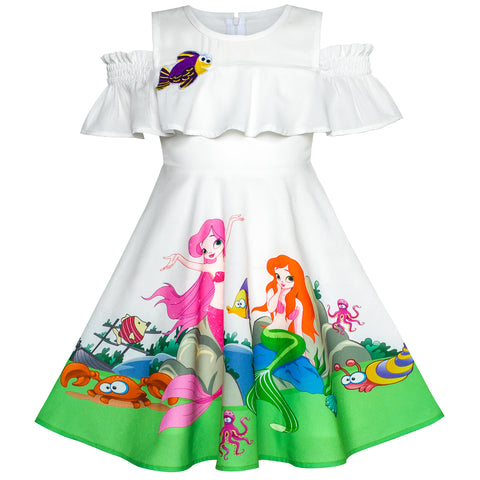 Girls Dress Mermaid Cartoon Princess Ruffle Collar Party Dress Size 2-8 Years