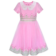 Girls Dress White Collar Pink Lace Short Sleeve Birthday Size 6-12 Years