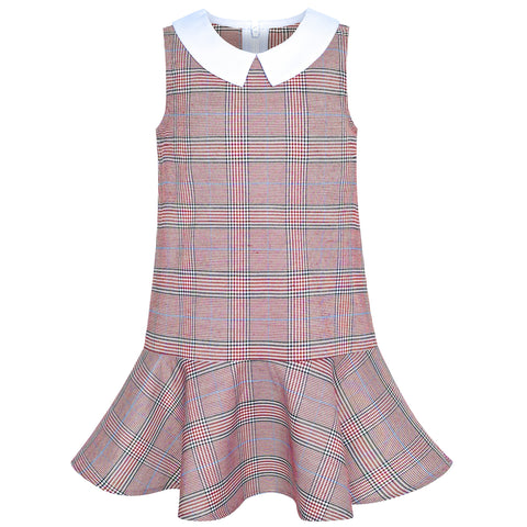 Girls Dress Red Tartan Back School Uniform White Collar Dress Size 4-8 Years