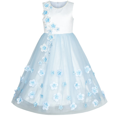 Flower Girls Dress Blue Petals Wedding Bridesmaid Birthday Party Size 6-12 Years