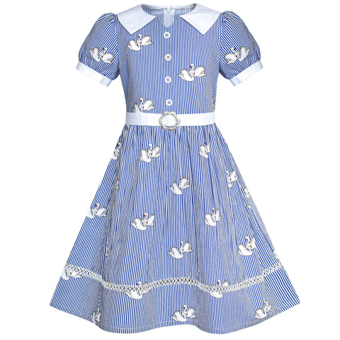 Girls Dress School Blue Strip Swan Belted White Collar Size 7-14 Years