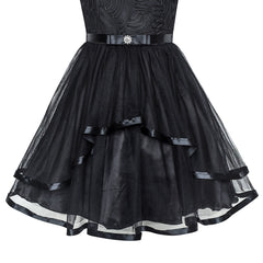 Flower Girl Dress Black Wedding Party Bridesmaid Dress Size 4-12 Years