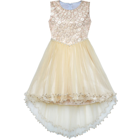 Flower Girl Dress Champagne Sequin Hi-low Wedding Bridesmaid Size 4-10 Years