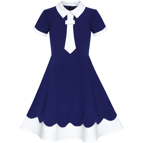 Girls Dress Back School Uniform Navy Blue White Collar Tie Short Sleeve Size 5-12 Years