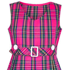 Girls Dress Pink Tartan Button Back School Pleated Hem Size 6-14 Years
