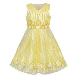 Flower Girls Dress Yellow Tulle Pageant Wedding Party Size 6-12 Years