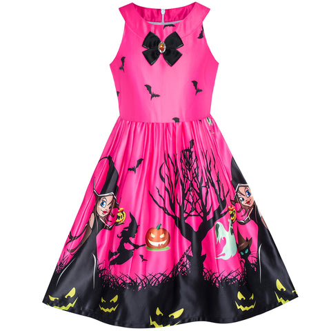Girls Dress Fuchsia Halloween Witch Bat Pumpkin Costume Halter Dress Size 7-14 Years