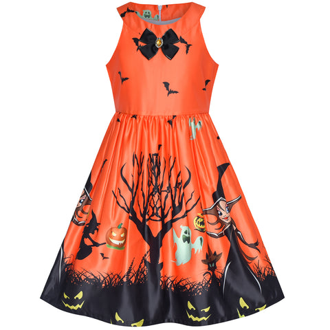 Girls Dress Orange Halloween Witch Bat Pumpkin Costume Halter Dress Size 7-14 Years