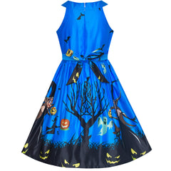 Girls Dress Royal Blue Halloween Witch Bat Pumpkin Costume Halter Dress Size 7-14 Years
