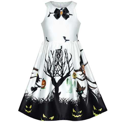 Girls Dress White Halloween Witch Bat Pumpkin Costume Halter Dress Size 7-14 Years