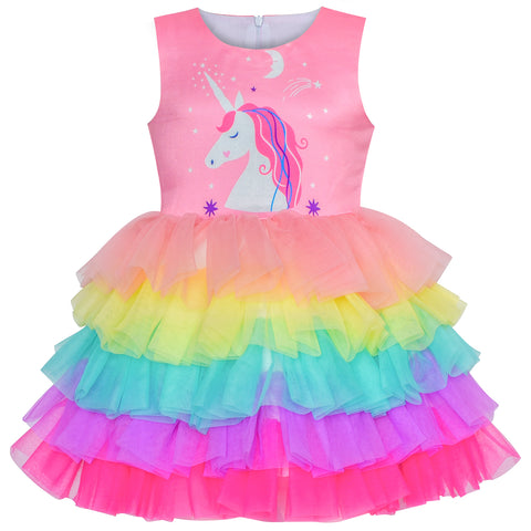 Girls Dress Pink Unicorn Ruffle Rainbow Cake Skirt Size 7-8 Years