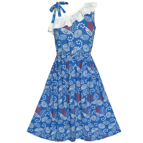 Girls Dress Navy Blue One Shoulder Floral Hi-low Party Dress Size 6-12 Years