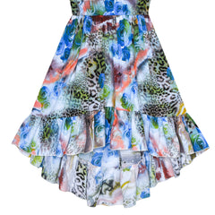 Girls Dress Multi Color One Shoulder Floral Hi-low Party Dress Size 6-12 Years
