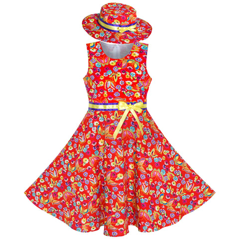 2 Pieces Girls Dress Red Butterfly Sun Hat Bow Tie Flower Size 4-12 Years