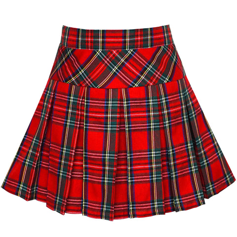 Girls Skirt Back School Uniform Red Tartan Skirt Size 6-14 Years