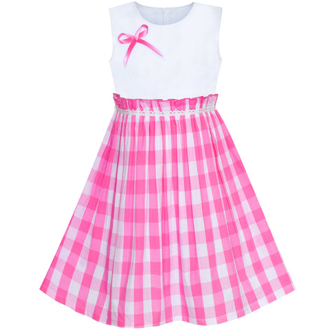 Girls Dress Pink Tartan Plaid Sundress Back School Size 4-10 Years