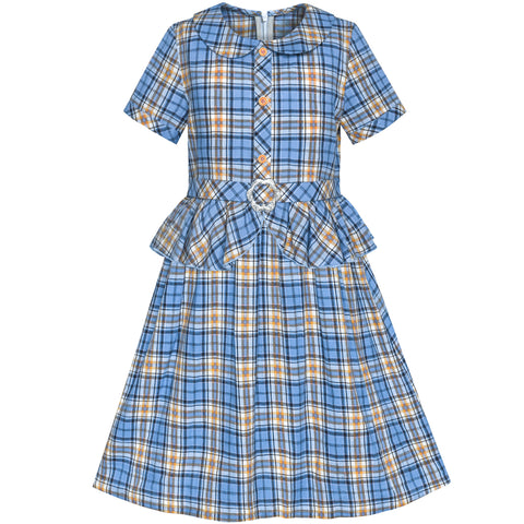 Girls Dress 2-in-1 Blue Tartan School Uniform Pleated Hem Belted  Size 5-12 Years