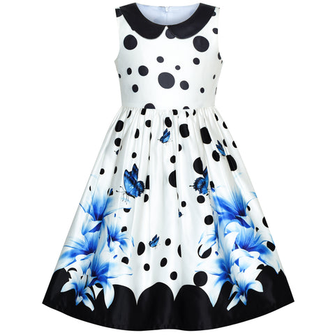 Girls Dress Blue Lily Flower Collar Vintage Party Dancing Size 6-12 Years