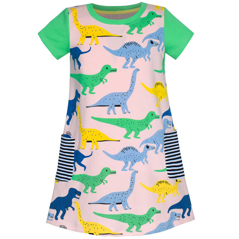 Girls Dress Cotton Green Crocodile Dinosaur Pocket Short Sleeve Size 5-10 Years