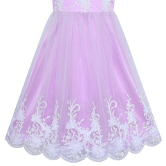 Flower Girls Dress Purple Illusion Shoulder Wedding Pageant Size 6-12 Years