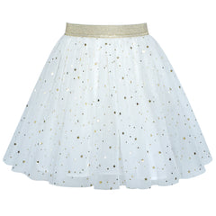 Girls Skirt Off White Sparkling Gold Star Moon Tutu Dance Size 4-12 Years