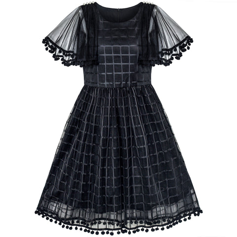 Girls Dress Black Tulle Cape Sleeve Plaid Tartan Party Size 5-12 Years