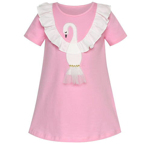 Girls Dress T-shirt Cotton Bird Embroidered Short Sleeve Size 2-6 Years