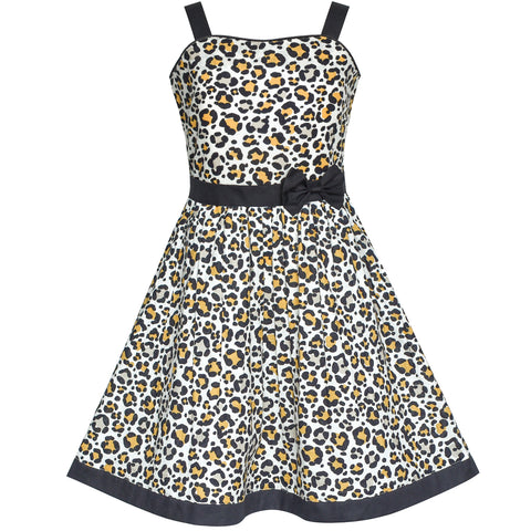 Girls Dress Leopard Print Bow Tie Summer Sundress Size 4-12 Years