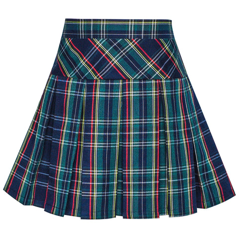 Girls Skirt Back School Uniform Peacock Green Tartan Skirt Size 6-14 Years