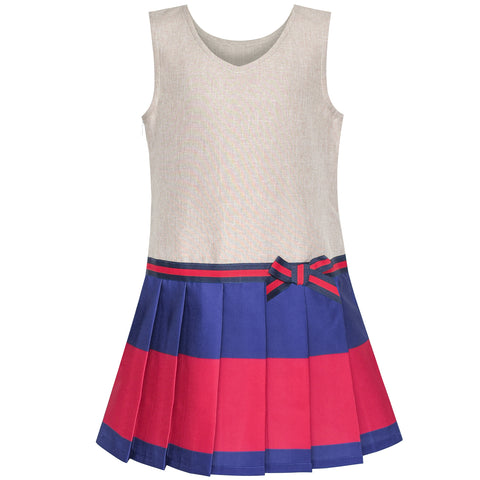 Girls Dress Khaki Navy Pleated Skirt Back School Uniform Size 4-12 Years