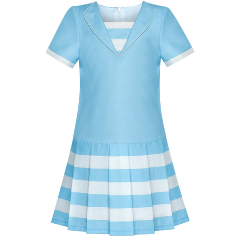 Girls Dress Blue Short Sleeve Pleated Skirt School Uniform Size 6-12 Years
