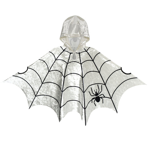 Halloween Cape Velvet Hooded Cloak Spider Costumes Cosplay Size 4-12 Years