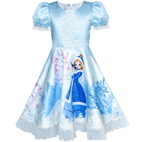 Girls Dress Blue Elsa Anna Snow Castle Party Princess Size 3-8 Years