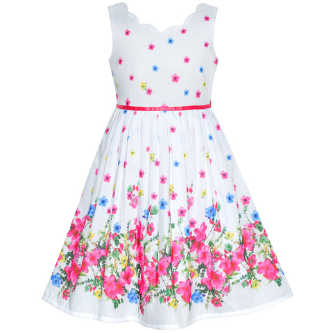 Girls Dress Pink Flower Petal Summer Sundress Size 4-12 Years