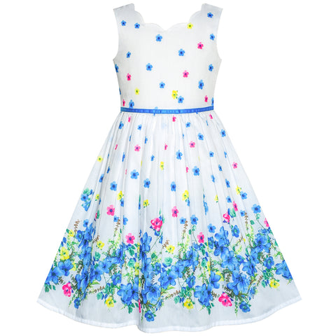 Girls Dress Blue Flower Petal Summer Sundress Size 4-12 Years