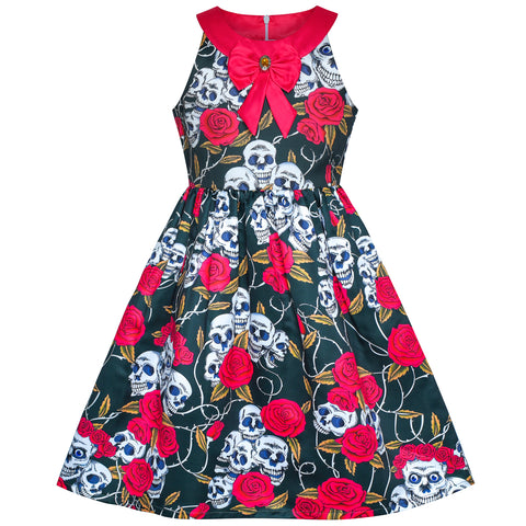 Girls Dress Halloween Skull Rose Blood Costume Halter Dress Size 7-14 Years