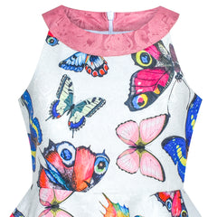 Girls Dress Butterfly Halter Flare Dress Party Size 5-12 Years