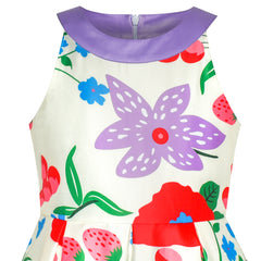 Girls Dress Purple Flower Strawberry Halter Flare Dress Party Size 6-12 Years